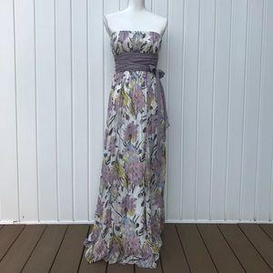 BCBGMAXAZRIA gorgeous long silk strapless dress 2
